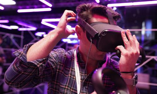 A man wearing a VR headset.